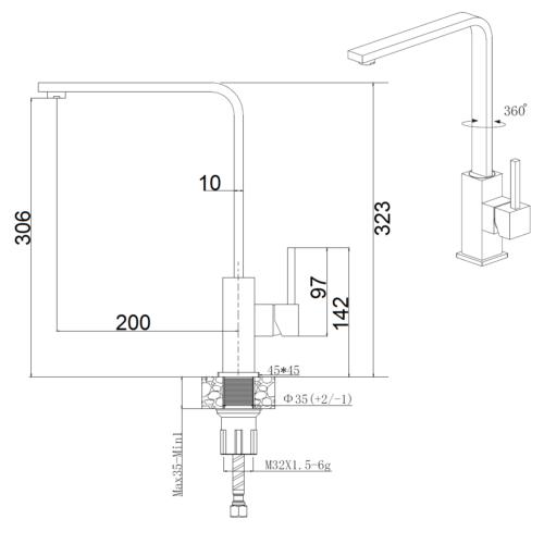 Кухонный смеситель FKM 52 SS Antracit Fabiano 8232.401.0657