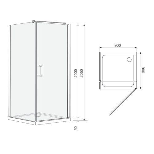 Eger 599-001/R (3коробки) RUDAS душевая кабина 90*90*205см квадратная, распашная, правая, поддон (PUF) 5см с сифоном, стекло прозрачное
