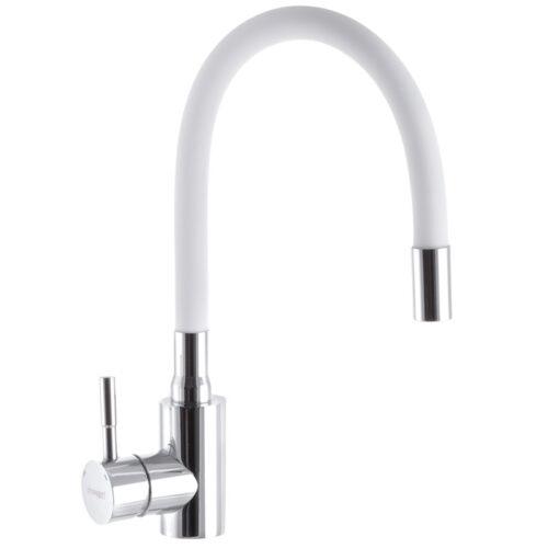 Смеситель для кухни с гибк. изливом CHAMPION SAS-011 Белый (нерж. сталь) (CH0287)