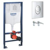 Grohe 38721001GROHE RAPID SL комплект для подвесного унитаза (бачок, крепеж, кнопка хром — двойн. слив)38721001(аналог 38750001), без прокладки