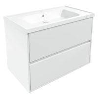 TEO комплект мебели 80см белый: тумба подвесная, 2 ящика + умывальник накладной арт 15-88-080