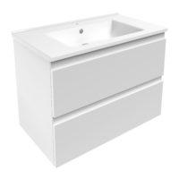 LEON комплект мебели 80см белый: тумба подвесная, 2 ящика + умывальник накладной арт 13-01-402В