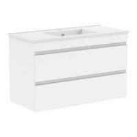 FIESTA комплект мебели 100см белый: тумба подвесная, 2 ящика + умывальник накладной арт 13-01-042F