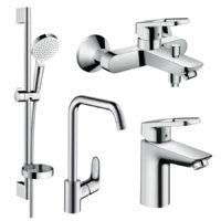 LOGIS LOOP набор смесителей для ванны, умывальник 100 + кухня (71151000+71244000+26553400+31820000)