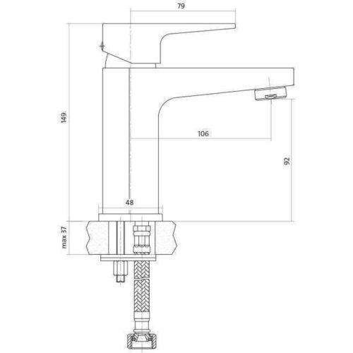 Смеситель для умывальника Cersanit VIGO с донным клапаном CLICK-CLACK S951-146