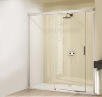DESIGN ELEGANCE H?PPE (Германия) дверь раздвижная 160х190 см (проф гл хром,стекло прозр Antipl) Функция Soft-Open-/Soft-Close