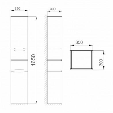 Пенал Левостороннее 35 цв Белый 4F Alessa Air Sanwerk MV0000373