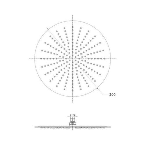 Лейка для верхнего душа Lidz (CRM)- 51 10 103 20