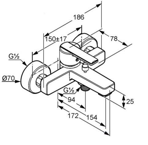 Смеситель для ванны Kludi D-Tail (386910590)
