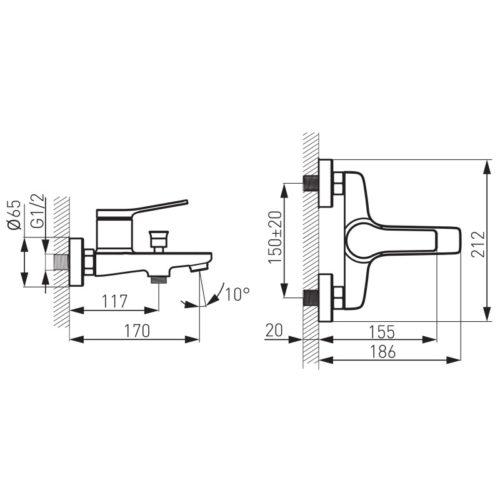 Смеситель для ванны Ferro Stratos (BSC1BL)