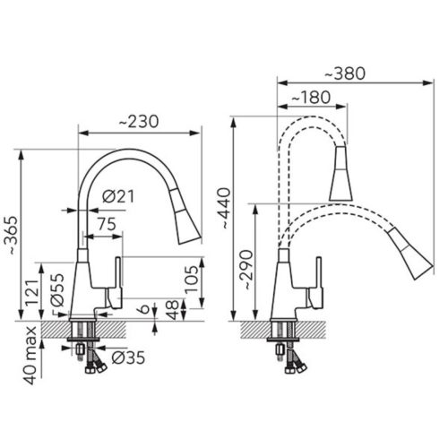 Смеситель кухонный Ferro Zumba II (BZA42C)