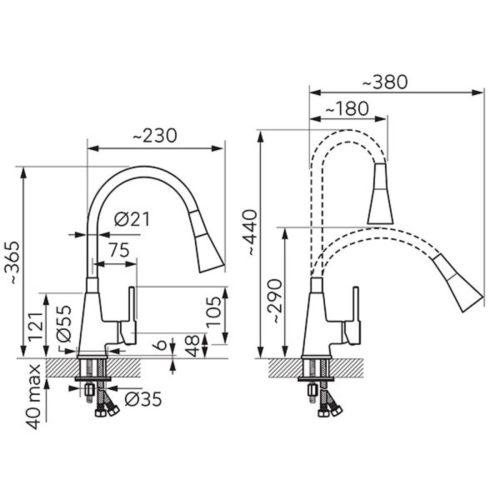 Смеситель кухонный Ferro Zumba II (BZA42W)