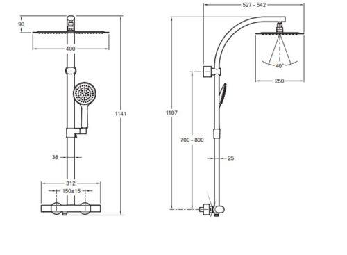 Душевая колонна Jacob Delafon Oblo Design (Е20642-CP)