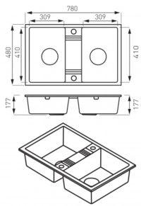 Кухонная мойка Ferro Mezzo II (DRGM2/48/78GA)