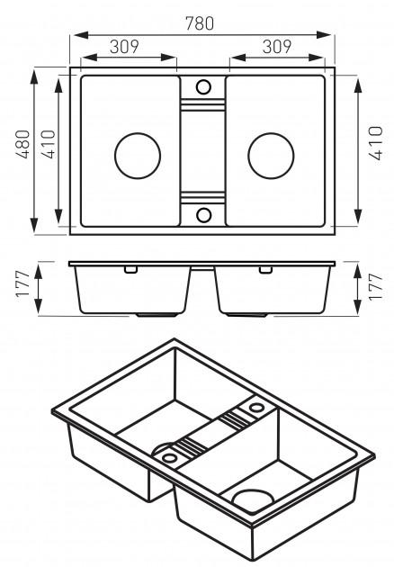 Кухонная мойка Ferro Mezzo II (DRGM2/48/78HA)