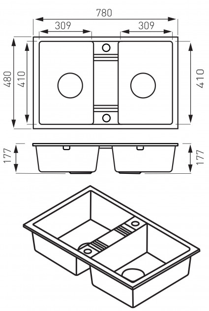Кухонная мойка Ferro Mezzo II (DRGM2/48/78SA)