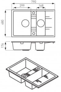 Кухонная мойка Ferro Mezzo II (DRGM3/48/79BA)