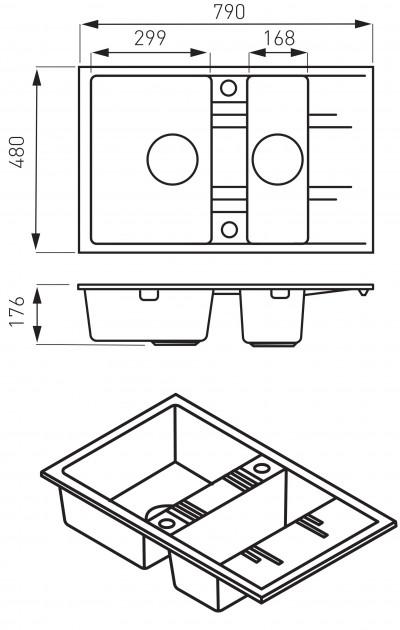 Кухонная мойка Ferro Mezzo II (DRGM3/48/79GA)