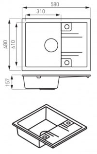 Кухонная мойка Ferro Mezzo II (DRGM48/58SA)