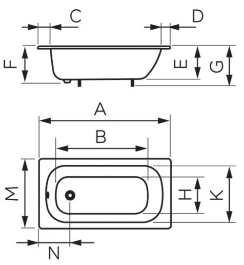 Ванна стальная Ferro 120 см (FWS2)