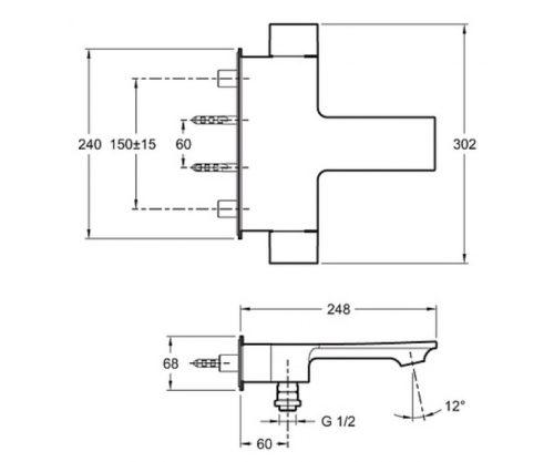 Термостат для ванны и душа Jacob Delafon Stance (Е9103-CP)