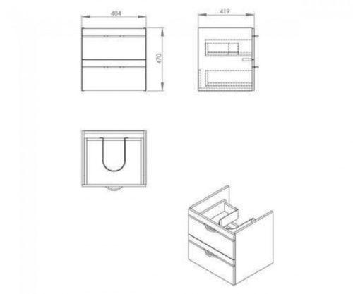 Тумба под умывальник 50, белая, 2 ящика Maracana Kfa Armatura 1694-218-150