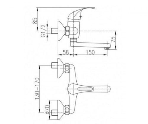 Смеситель для мойки настенный L=150мм (ручка Atut) Эко-Кран Kfa Armatura 5510-850-00