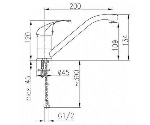 Смеситель для кухни L=200мм (ручка Atut) Эко-Кран Kfa Armatura 5513-954-00