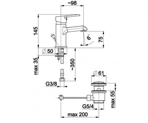 Смеситель для умывальника L=98 мм Сеелит Kfa Armatura 5812-815-00