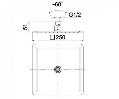 Душевая лейка квадратная 250×250 мм Kfa Armatura 842-360-00-BL