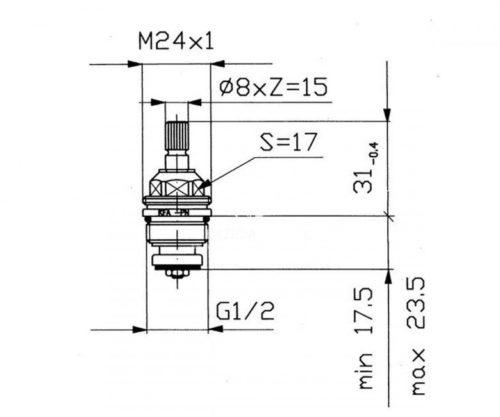 Картридж головка ползунковая универсальная Kfa Armatura 882-400-98