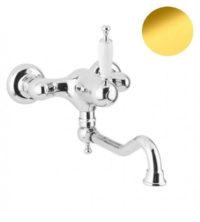Смеситель для кухни со стены (золото, белая пластиковая ручка) Oxford Bugnatese OXDO6340