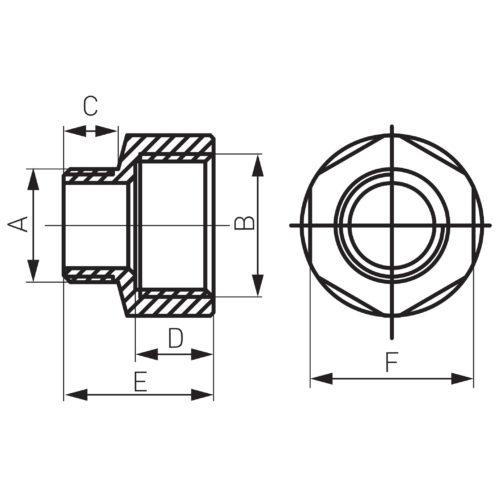 Редукция нарезно-врезная M 1/2″/ 1″ (RN04Z)