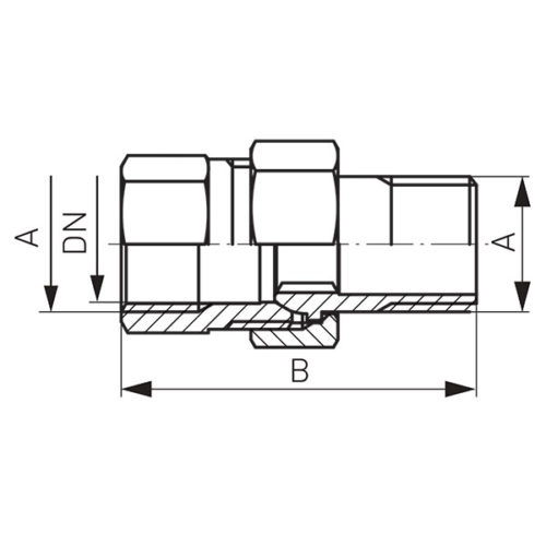 Латунная соединительная муфта прямая 1 /2″ Ferro (SG2)
