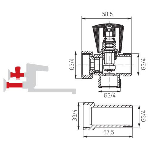 Угловой кран для воды 3/4″ Ferro (Z250)