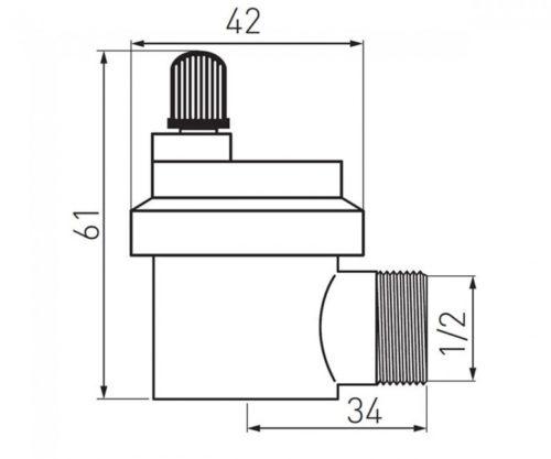 Воздухоотводчик автоматический угловой 1/2 Ferro (015asb)