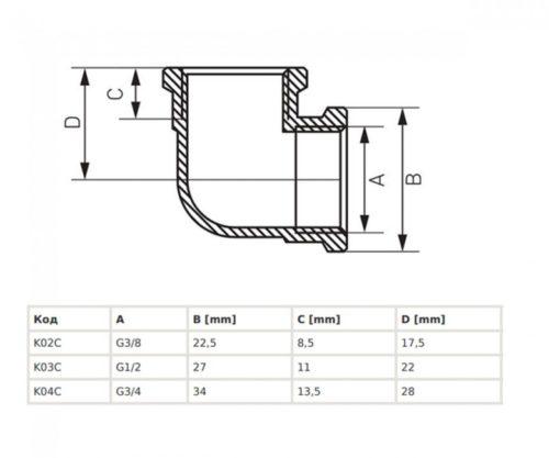 Колено нарезно-нарезное 3/8″ Ferro (K02C)
