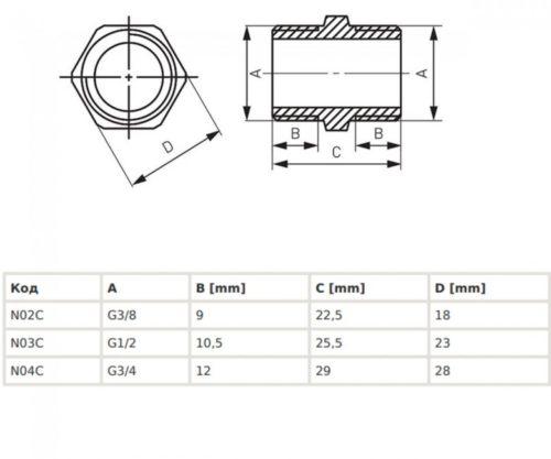 Нипель резьбовой 1/2 Ferro (N03C)