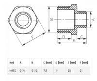 Редукционный ниппель 1/2″x1/4″ (N09Z)