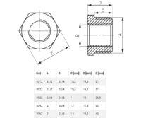 Латунный переходник 1″ 1/2″ Ferro (R06ZW)