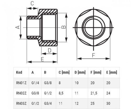 Редукция нарезно-врезная 3/8″/ 1/2″ Ferro (RN02ZW)