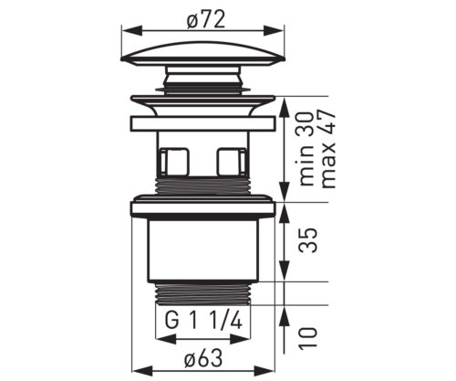 Донный клапан G5/4 Ferro (S288PPCB)