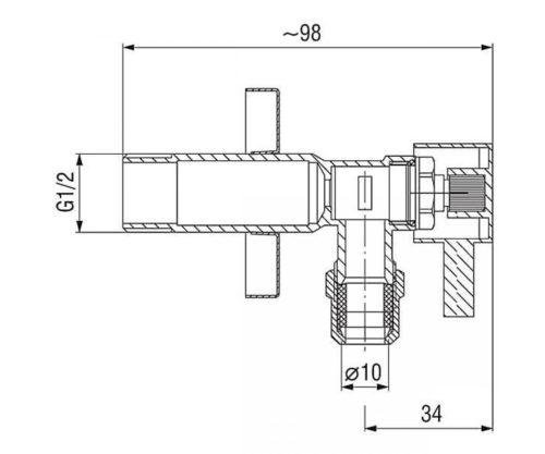 Угловой кран 1/2х3/4″ Ferro (Z1234C)