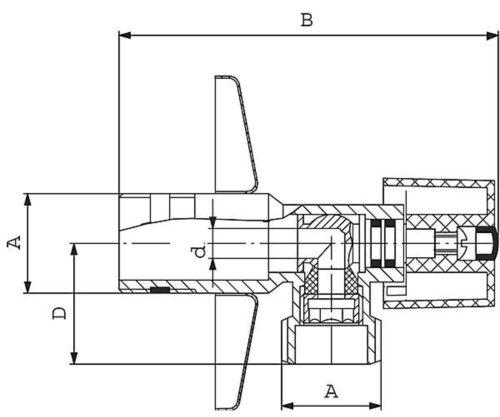 Шаровой клапан с розетой и ручкой угловой 1/2×3/8 Ferro (Z1238K)