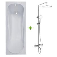 Ванна 170х70х43,5см без ножек и душевая система Volle Fiesta (set20210205)