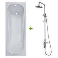 Ванна 150х70х43,5см без ножек и душевая система Volle Fiesta (set20210206)