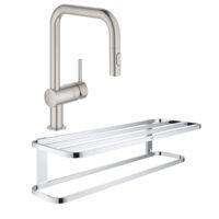 Набор Grohe смеситель для кухни с выдвижным изливом Minta 32322DC2 + полка для полотенец Selection 41066000