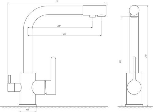 Смеситель для кухни под осмос Globus Lux GLLR-0444-4-COLORADO