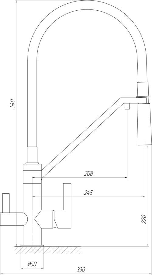 Смеситель для кухни под осмос TOPAZ SARDINIA TS 8812-H24-PVD-S нікель