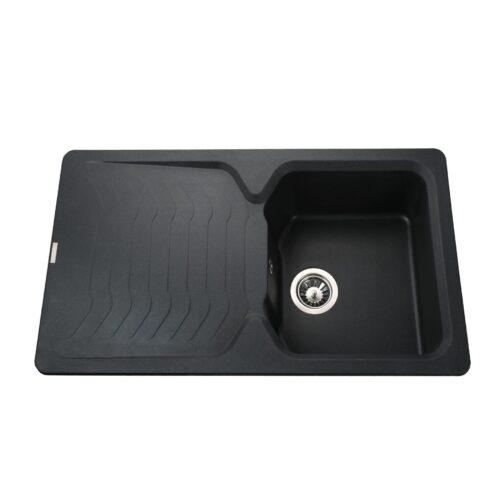 Гранитная мойка Globus Lux  BOREN черный металiк 860х500мм-А0001